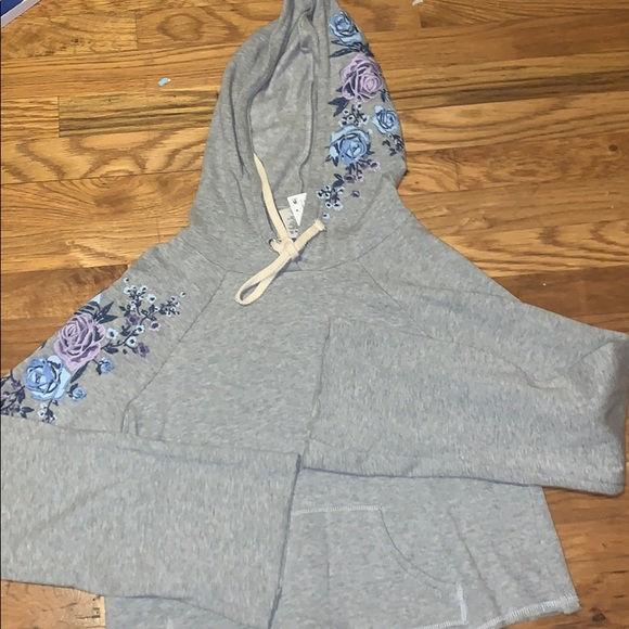 Other - Heather Grey Embroidered Hoodie